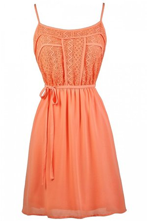 Lace Designs Flowy Sundress in Orange Coral