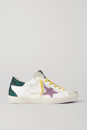 White Superstar distressed glittered leather sneakers | Golden Goose | NET-A-PORTER