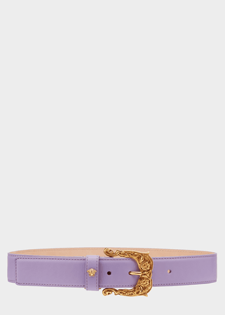Versace Baroque Buckle Leather Belt for Women | US Online Store