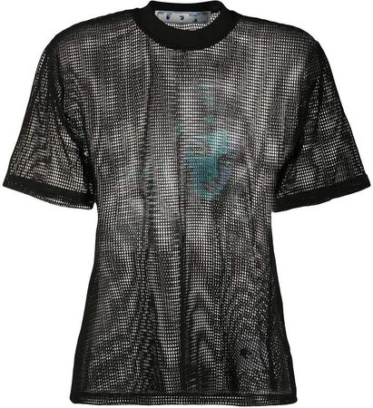 Off White printed net top