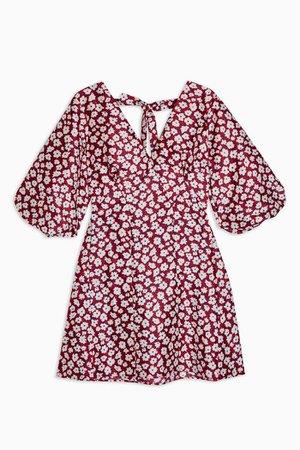 Daisy Floral Print Puff Mini Dress | Topshop