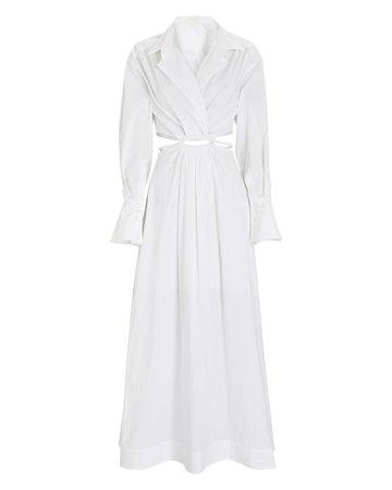 Jonathan Simkhai Alex Cut-Out Poplin Shirt Dress | INTERMIX®