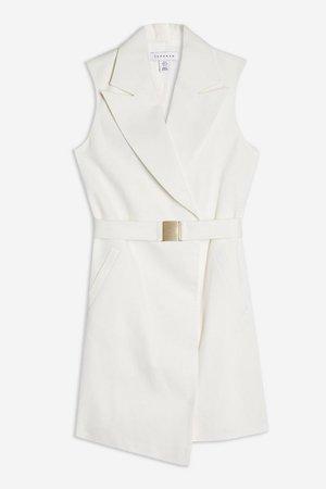 Belted Sleeveless Blazer Dress White   Topshop