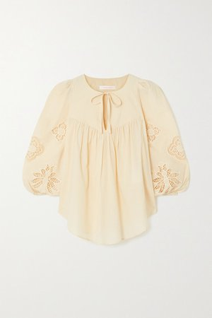 Broderie Anglaise Cotton-voile Blouse - Cream