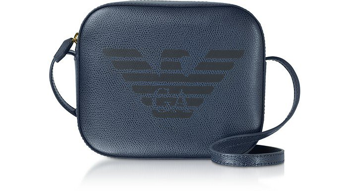 Emporio Armani Blue Eagle Embossed Shoulder Bag at FORZIERI