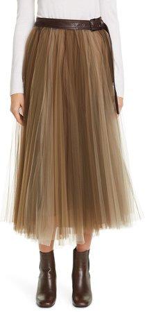 Belted Tulle Midi Skirt
