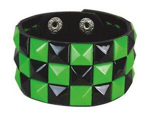 Green & Black Checked Studded Wristband 3 Row Pyramid Stud Cuff Checkered Goth | eBay