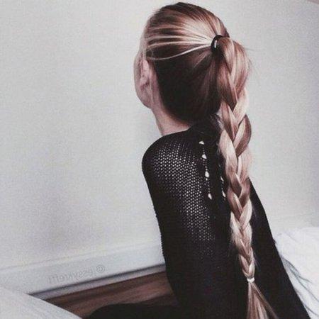 High Brown & Blonde Braid Ponytail