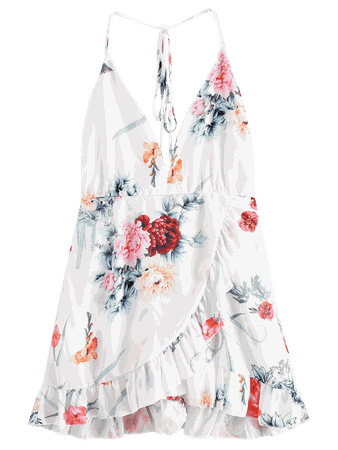 [45% OFF] [HOT] 2019 Floral Criss Cross Backless Flounce Dress In WHITE S | ZAFUL