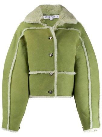 Saks Potts Oversized Sleeve Shearling Trim Jacket - Farfetch