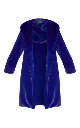 Blue Longline Faux Fur Coat | Coats & Jackets | PrettyLittleThing