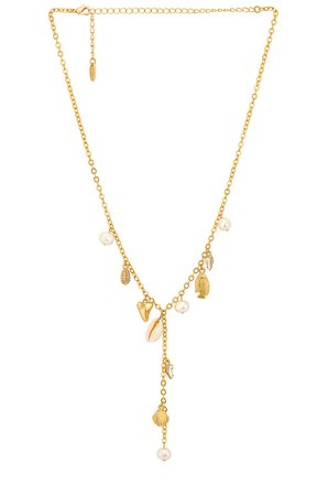 Ettika Shell Lariat Necklace in Gold | REVOLVE