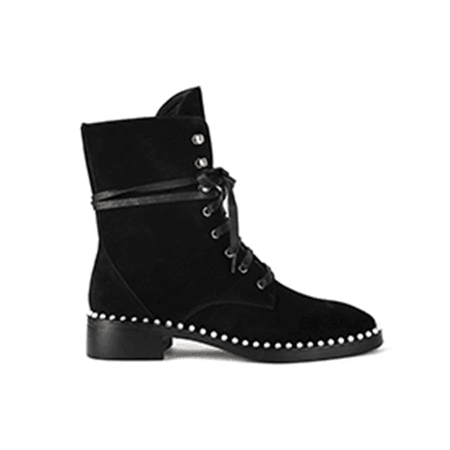 JESSICABUURMAN – NATEA Lace Up Pearls Suede Ankle Boots