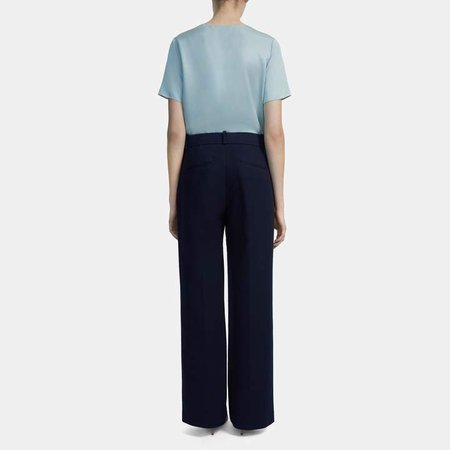 Wide Leg Pant in Stretch Cotton