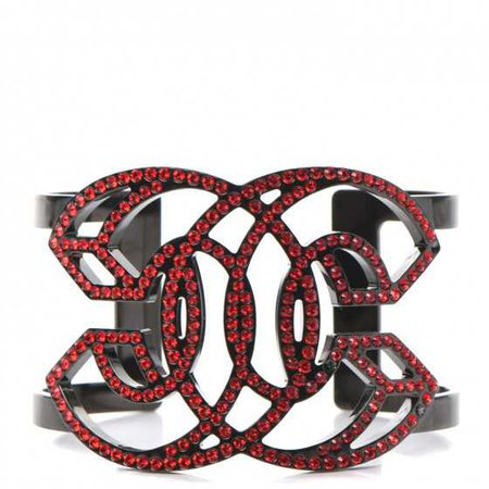 CHANEL Crystal CC Cuff Bracelet Red Black 242351