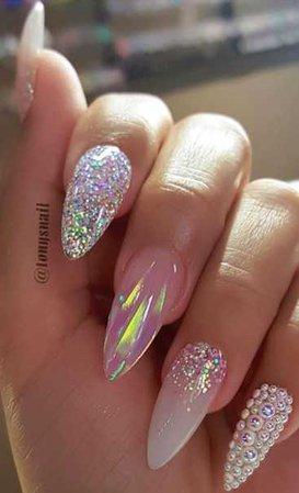 clear glitter nails
