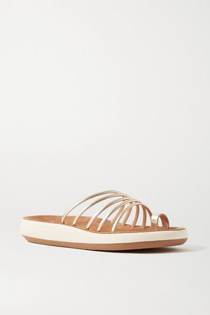 Hypatia Metallic Leather Sandals - Gold