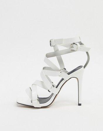 ASOS DESIGN Nice gladiator heeled sandals in white | ASOS