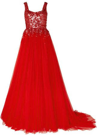 Adara Embellished Tulle Gown - Red