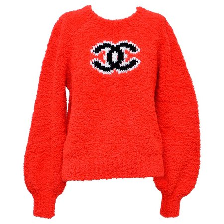 CHANEL CC Red Teddy Sweater NEW Size 40FR For Sale at 1stdibs