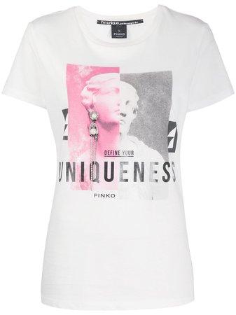 Pinko graphic-print Crew Neck T-shirt - Farfetch