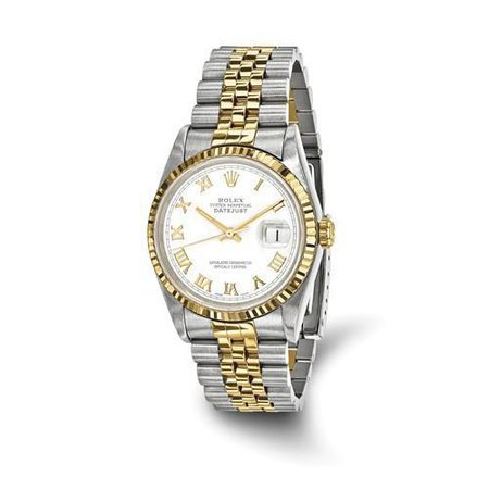 DATEJUST - 36 MM, OYSTERSTEEL & 18K YELLOW GOLD, WHITE DIAL (PRE-OWNED) rolex