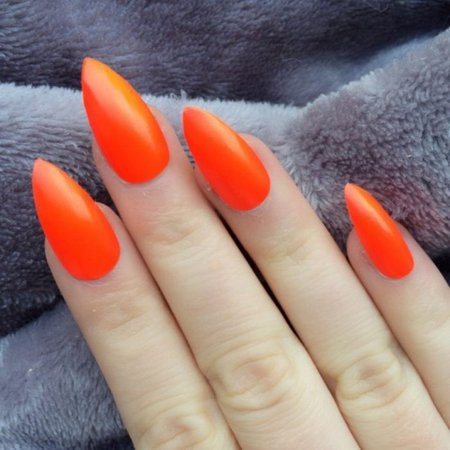 Orange stiletto nails
