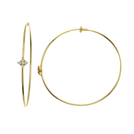 Gianna Hoop Earring with Diamonds in 14k Yellow Gold by GiGi Ferranti