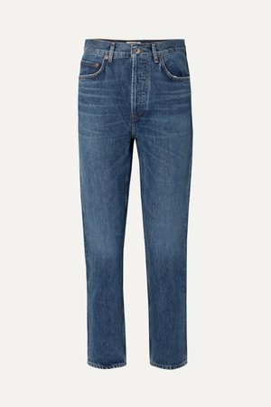 Blue Riley cropped high-rise straight-leg jeans | AGOLDE | NET-A-PORTER
