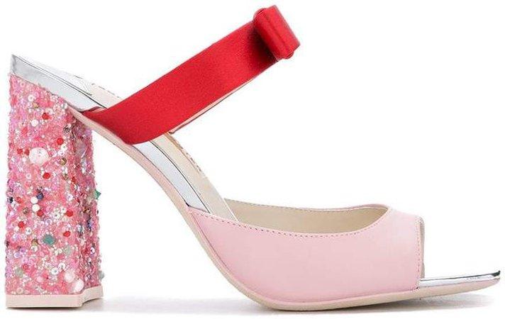 sequin heel party sandal