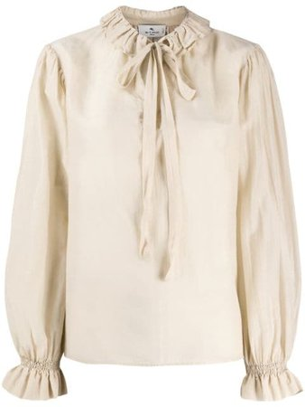 Shop Etro ruffle neck blouse with Express Delivery - Farfetch