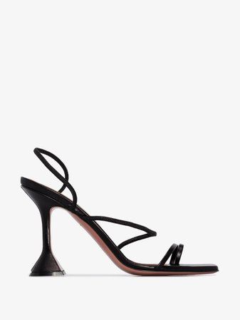 Amina Muaddi black Naima 95 leather sandals | Browns