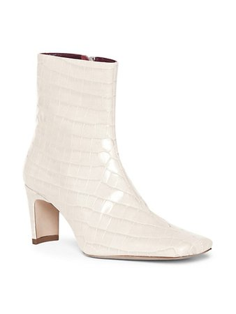 Staud Eva Square-Toe Croc-Embossed Leather Ankle Boots | SaksFifthAvenue