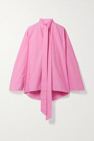 Oversized Tie-neck Cotton-poplin Blouse - Pink