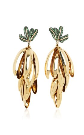 Monkey Banana Bunch 18K Gold, Sterling Silver And Tsavorite Earrings by Bibi van der Velden | Moda Operandi