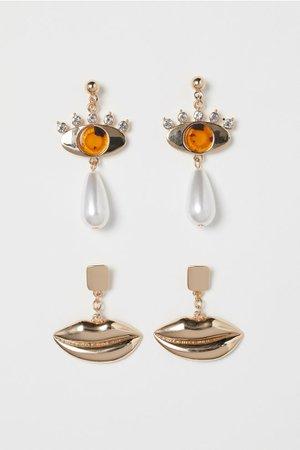 2 Pairs Earrings - Gold-colored - Ladies | H&M US