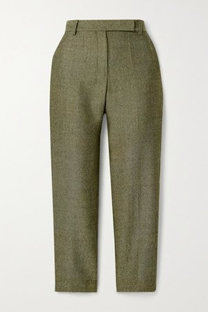 Cropped Herringbone Wool Straight-leg Pants - Army green
