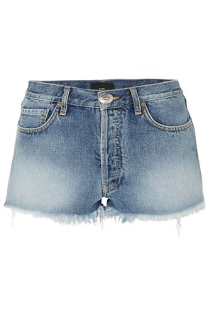 Mid denim Embroidered distressed denim shorts | Alanui | NET-A-PORTER