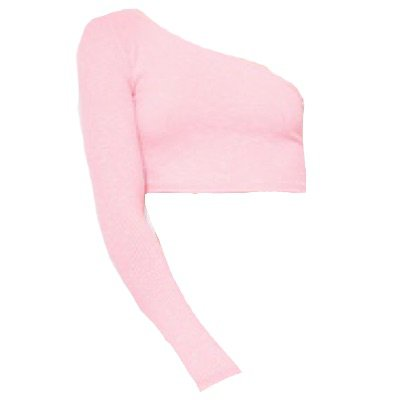 One Sleeve Ribbed Crop Top Pink