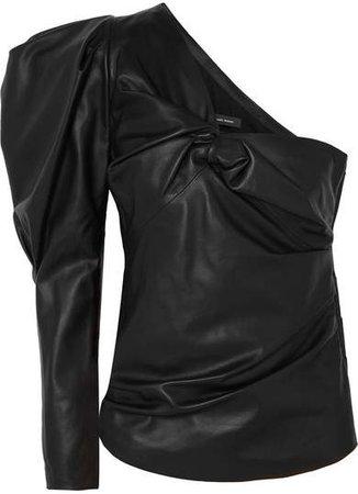 Noop One-shoulder Ruched Leather Top - Black