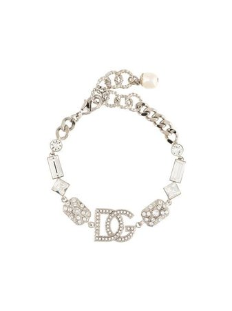 Dolce & Gabbana Crystal Logo Charm Bracelet - Farfetch