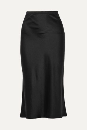 Black Bar silk-satin midi skirt   Anine Bing   NET-A-PORTER