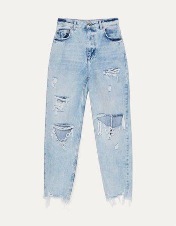 Ripped mom jeans - Jeans - Bershka Russia
