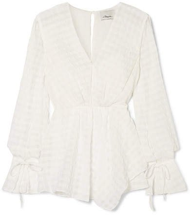 Asymmetric Seersucker Blouse - White