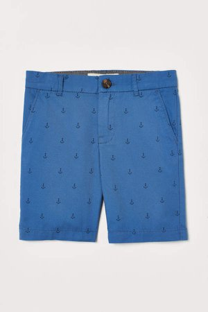 Cotton Chino Shorts - Blue