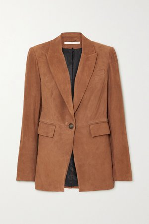 Brown Long and Lean Dickey suede blazer | Veronica Beard | NET-A-PORTER