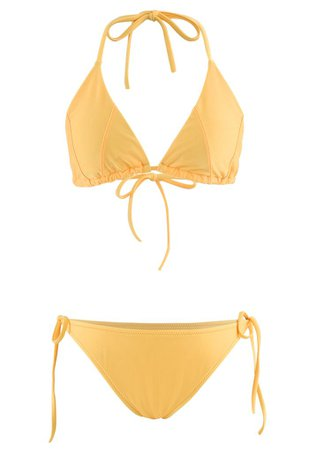 Self-Tied String Halter Bikini Set in Yellow - Retro, Indie and Unique Fashion