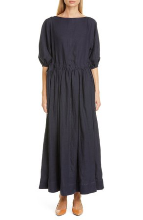 Mansur Gavriel Drawstring Waist Linen Dress   Nordstrom