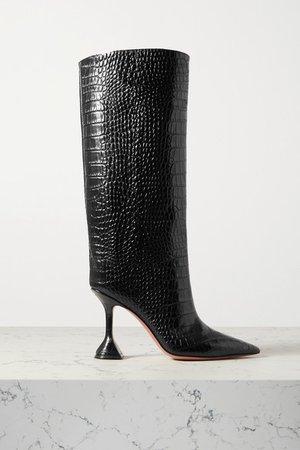 Rain Croc-effect Leather Knee Boots - Black