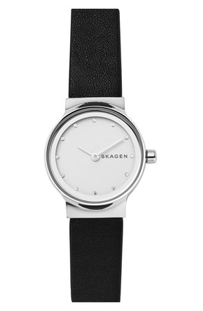 Skagen Freja Crystal Accent Leather Strap Watch, 26mm | Nordstrom